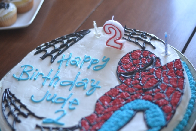 Jude turned 2!  And he loves Spiderman, so I whipped up a Spiderman cake!